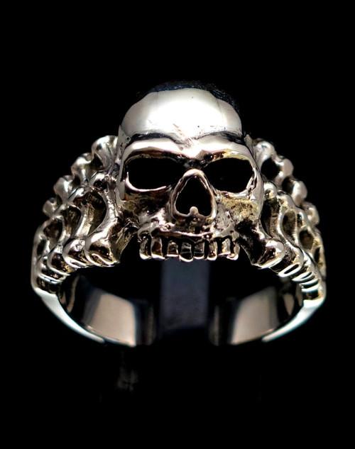 Sterling silver Skeleton ring Evil Skull high polished and antiqued 925 silver