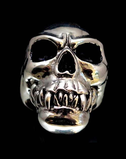 Huge Sterling silver men's Skull ring Horror Zombie Cannibal antiqued 925 silver