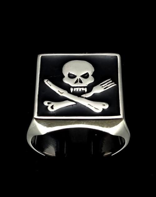 Sterling silver men's ring Skull on Crossed Knife & Fork with Black enamel 925 silver