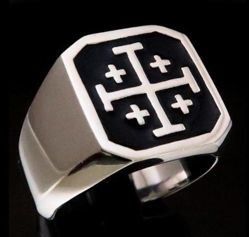 Sterling silver Crusaders ring Jerusalem Cross Knights Templar symbol with Black enamel 925 silver
