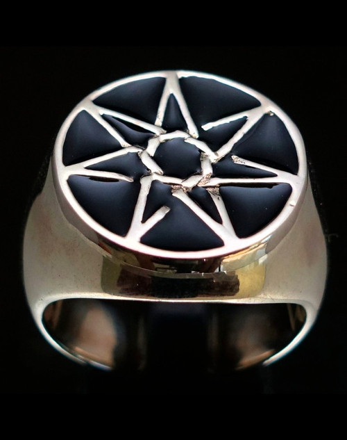 Sterling silver ring Fairy Elven Star Seven Pointed Heptagram with Black enamel 925 silver
