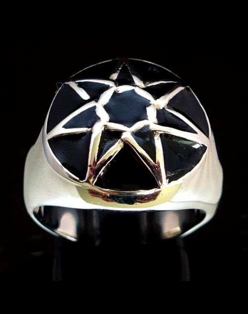 Domed Sterling silver ring Heptagram Seven Pointed Fairy Elven Star with Black enamel 925 silver