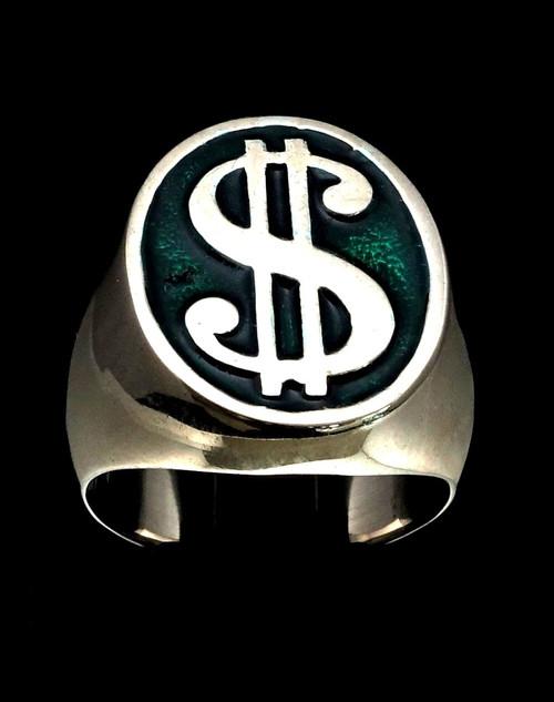 Sterling silver men's ring US Dollar symbol $ on Green enamel 925 silver