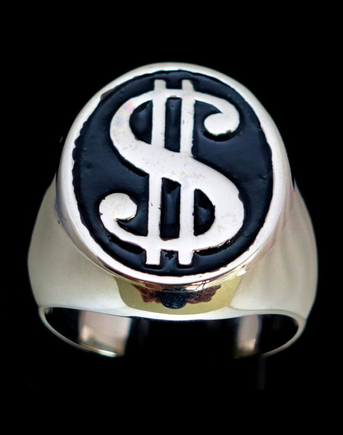 Sterling silver men's ring US Dollar symbol $ on Black enamel 925 silver