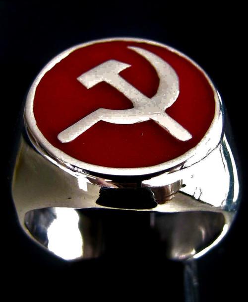 Sterling silver ring Hammer & Sickle symbol on Red enamel 925 silver