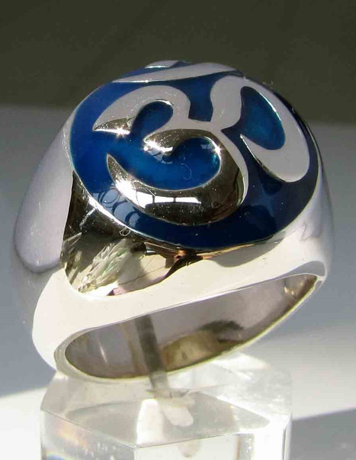 Sterling silver ring Ohm Buddhist symbol Buddhism with Blue enamel 925 silver