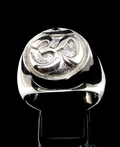 Sterling silver ancient symbol ring Ohm Buddhist Sacred sound Buddhism Matte finish and high polished 925 silver