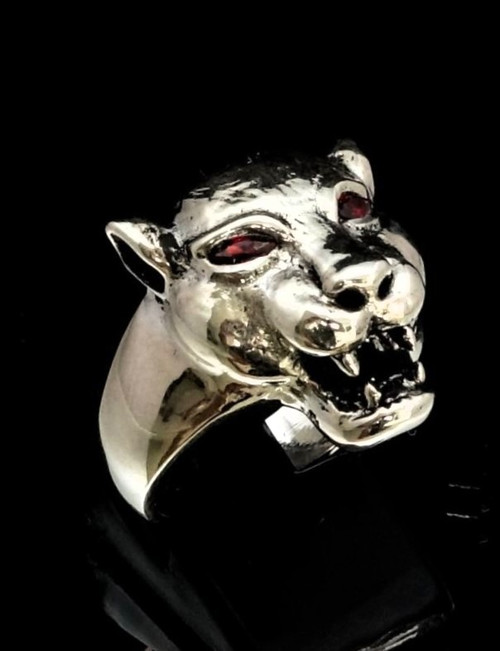 Sterling silver Animal ring Puma Cougar with Two Fiery Red CZ Eyes 925 silver