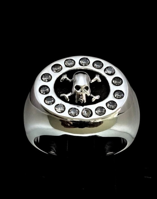Sterling silver ring Pirate Skull on Crossed Bones with 15 white CZ stones high polished 925 silver