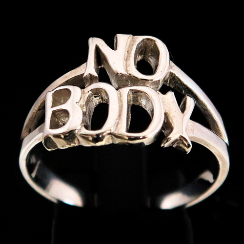 Sterling silver word ring No Body Two words Bold letters 925 silver unisex ring