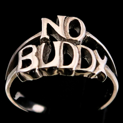 Sterling silver word ring No Buddy 2 words Bold letters high polished 925 silver unisex ring