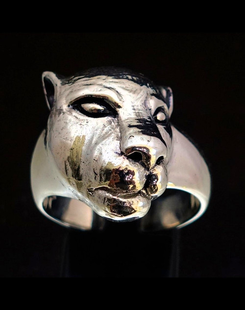 Sterling silver Animal ring Sleeping Lioness Female Lion high polished and antiqued 925 silver