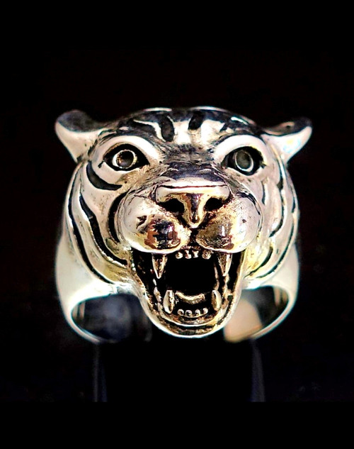 Stunning Sterling silver Animal ring Angry Tiger high polished and antiqued 925 silver