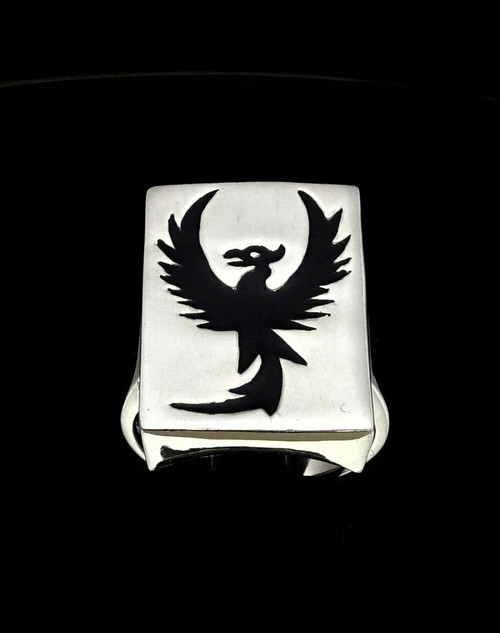 Sterling silver ring Phoenix mythical Animal Fire Bird Rising from the Ashes with Black enamel
