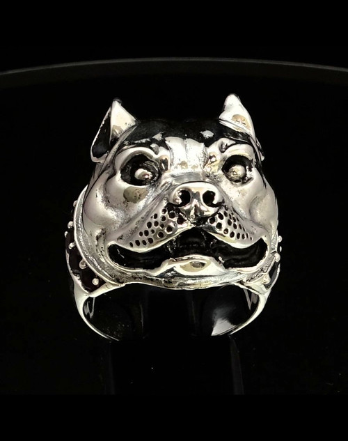 Sterling silver Animal ring Pit Bull dog with a natural Dark Red Garnet Gemstone Collar 925 silver