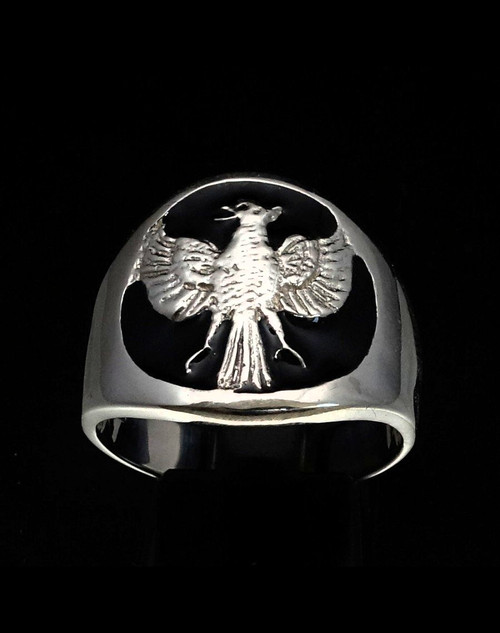 Sterling silver ring Garuda Hindu creature Mythical animal Bird Indonesia with Black enamel