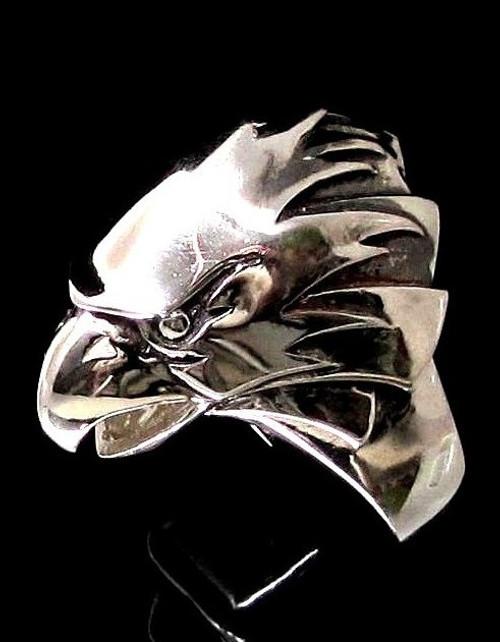 Sterling silver Animal ring Hawk Hunting Bird of Prey high polished 925 silver