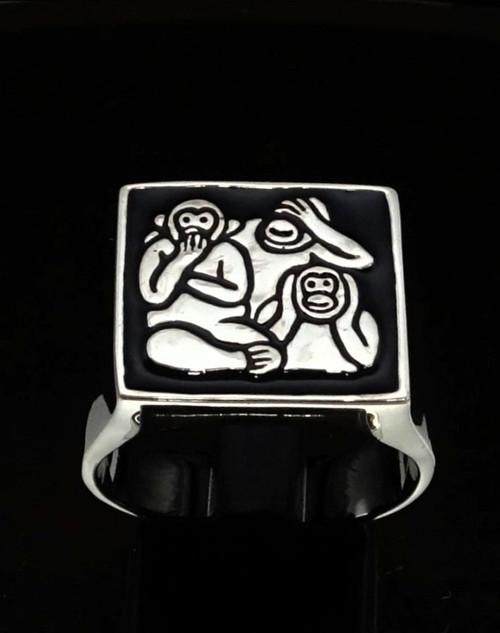 Sterling silver Symbol ring Three Wise Monkeys with Black enamel 925 silver