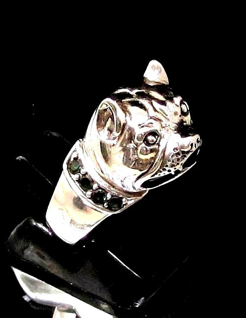 Sterling silver Animal ring Pit Bull Dog Breed with a Emerald Green CZ Collar 925 silver