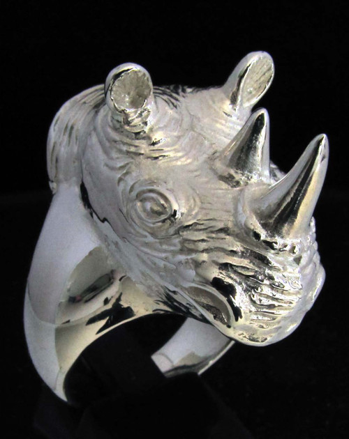 Huge and Heavy Sterling silver men's ring African Rhinoceros Wild Animal 925 silver