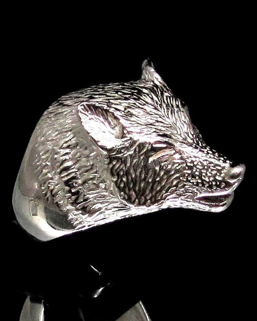 Sterling silver Wild Animal ring  Wolf high polished 925 silver