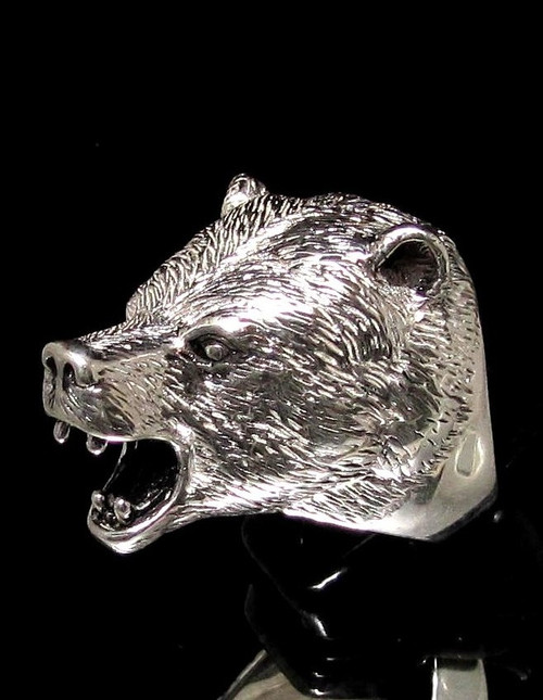 Big and Heavy Sterling silver Wild Animal ring Roaring Grizzly Bear 925 silver men's ring