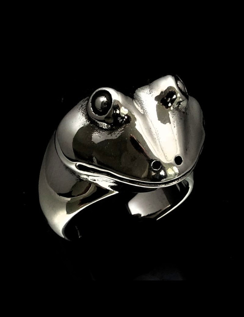 Sterling silver Animal ring Toad Frog head high polished 925 silver