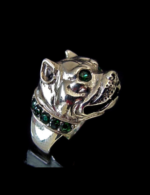 Sterling silver Animal ring Pit Bull Dog with Emerald Green CZ Eyes and Collar 925 silver