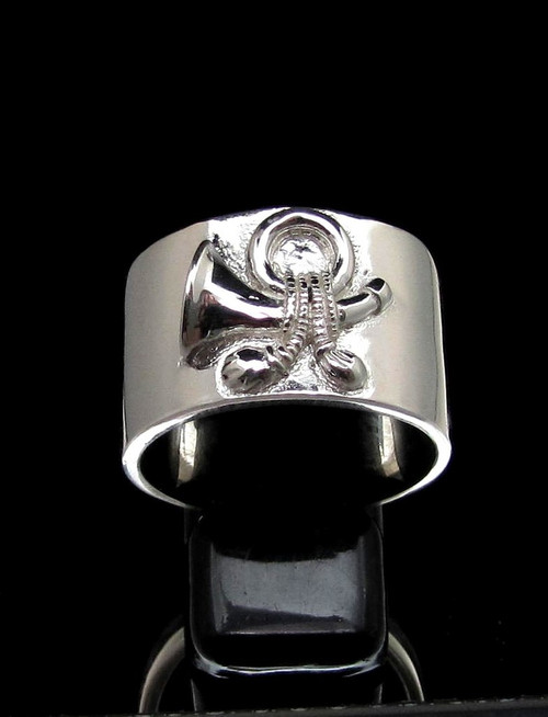 Sterling silver Symbol ring US Yankee Cavalry Post Horn high polished 925 silver