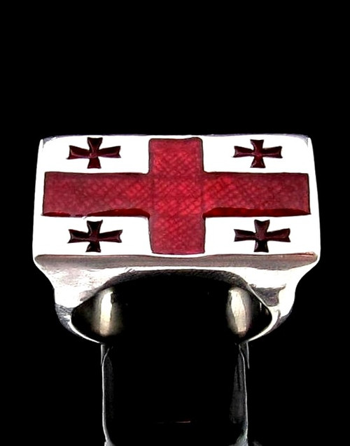 Sterling silver Knights Templar ring Five Cross Flag medieval kingdom of Georgia with Red enamel high polished 925 silver