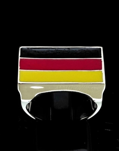 Sterling silver German Flag ring Germany with Black Red and Yellow enamel 925 silver