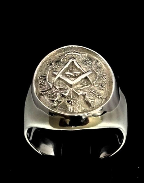Sterling silver men's ring Square and Compasses Masonic symbol Freemasonry high polished 925 silver