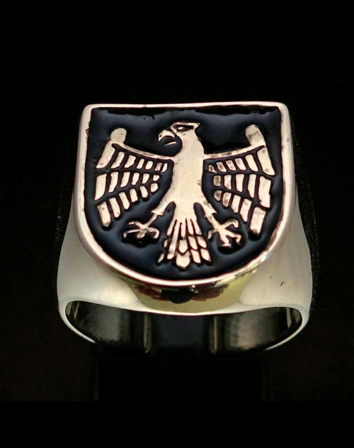 Sterling silver men's ring Medieval Eagle on Shield coat of arms with Black enamel high polished 925 silver