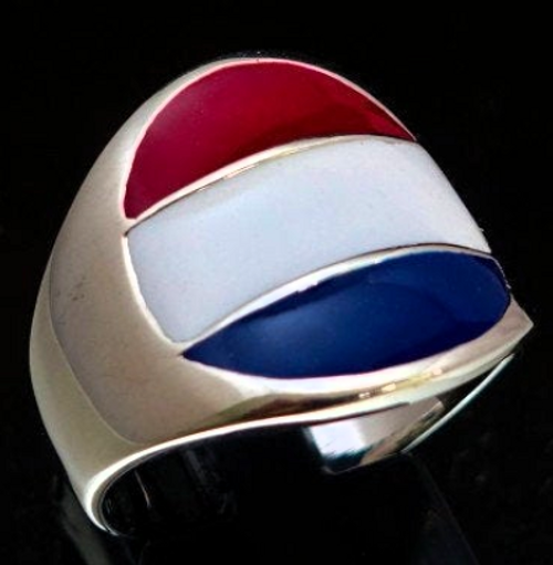 Sterling silver Dutch Flag ring Netherlands with Red White and Blue enamel high polished 925 silver