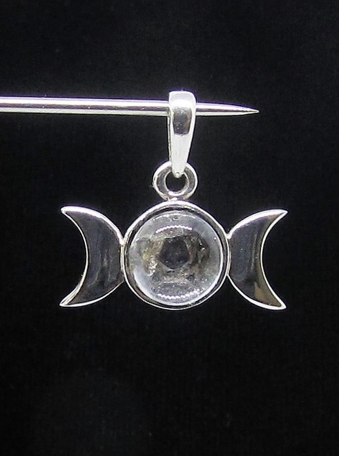 Sterling silver Pendant Pentagram and Crescent Moon with White Quartz 925 silver