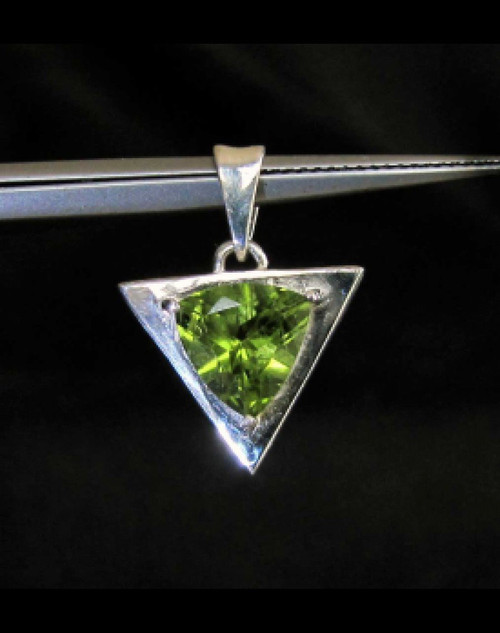 Triangle shaped Sterling silver pendant with natural emerald Green Peridot
