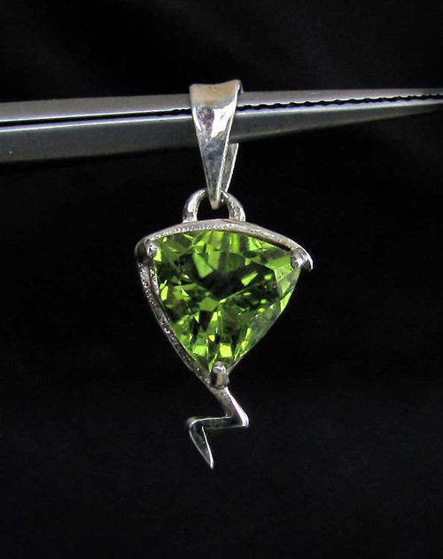 Little Sterling silver Gemstone Pendant with a natural emerald Green Peridot