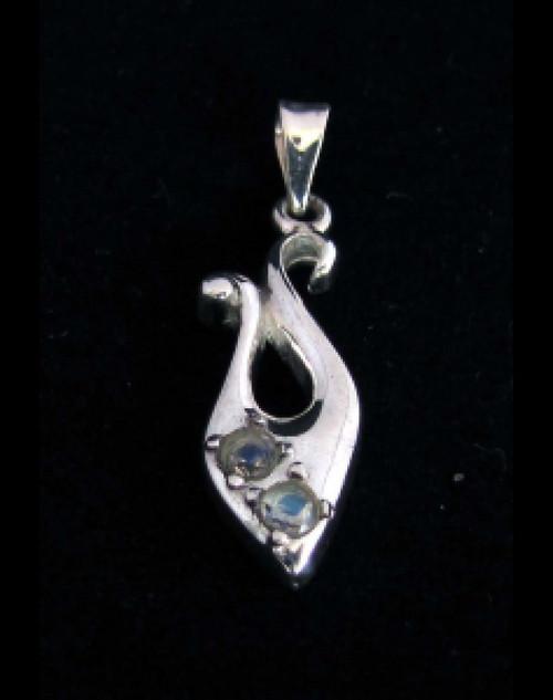 Elegant Sterling silver Gemstone pendant with 2 sparkling little Blue Fire Moonstones 925 silver