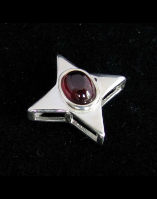 Star shaped Sterling silver women's Pendant with a natural Dark Red Garnet Gemstone