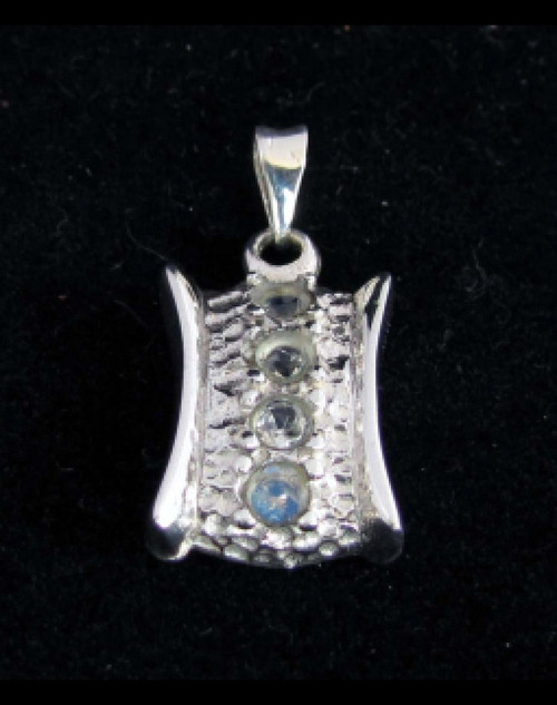 Beautiful Sterling silver Gemstone pendant with 4 sparkling little Blue Fire Moonstones