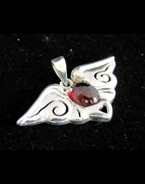 Butterfly shaped Sterling silver women's Pendant with a natural Dark Red Garnet Gemstone