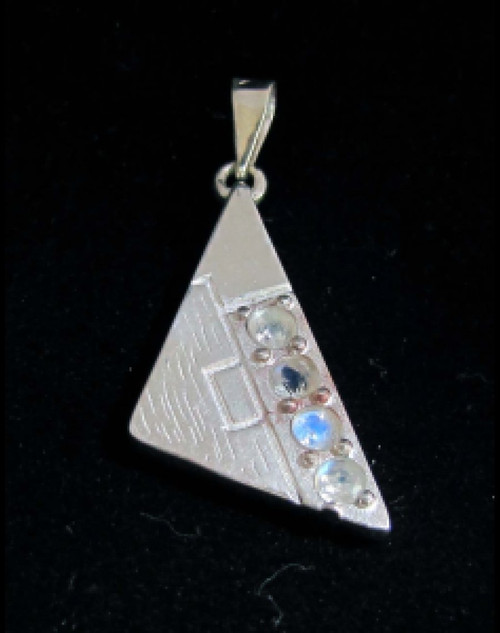 Triangle shaped Sterling silver Gemstone pendant with 4 sparkling little Blue Fire Moonstones