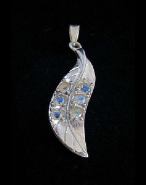 Feather shaped Sterling silver Gemstone pendant with 6 sparkling little Blue Fire Moonstones