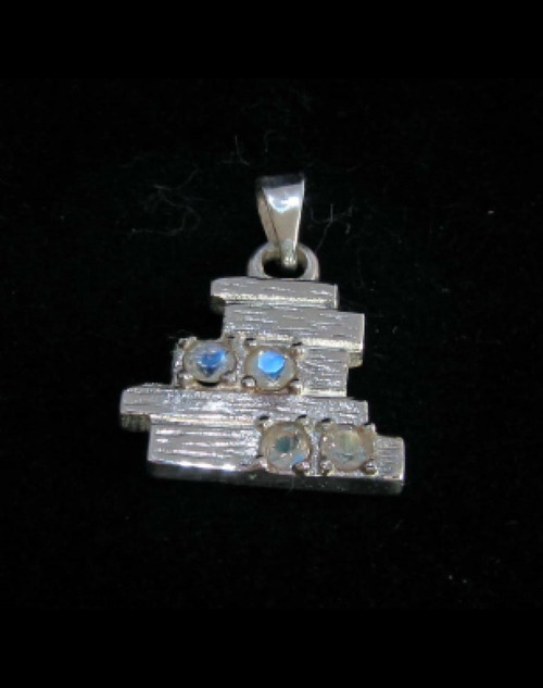 Pyramid shaped Sterling silver Gemstone pendant with 4 sparkling little Blue Fire Moonstones