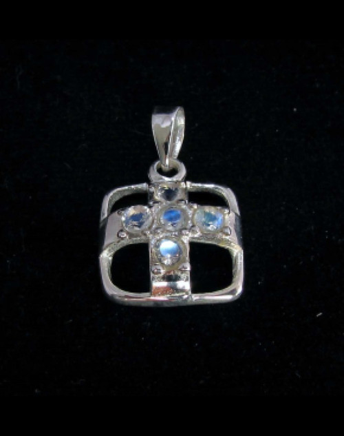 Sterling silver Cross Pendant with 5 little Sparkling Blue Fire Moonstone Gemstones