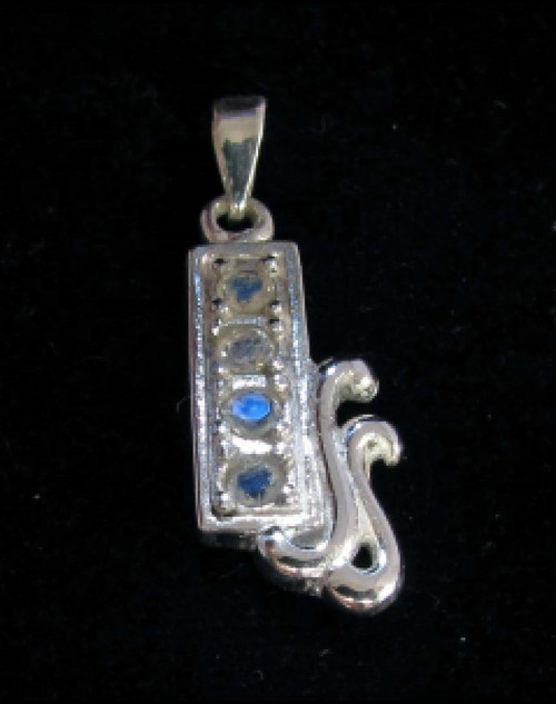 Sterling silver Gemstone pendant with 4 sparkling little Blue Fire Moonstones