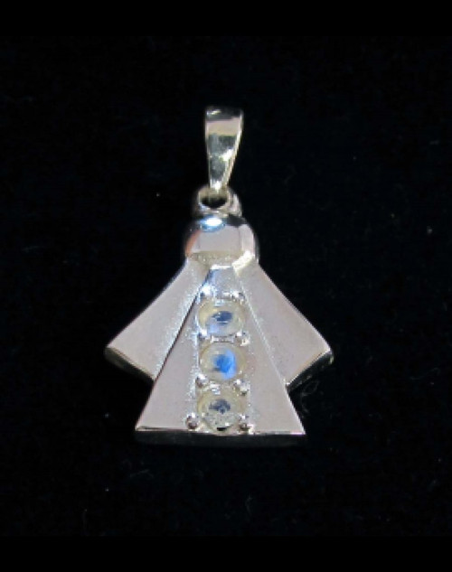 Abstract Sterling silver Gemstone pendant with 3 sparkling little Blue Fire Moonstones