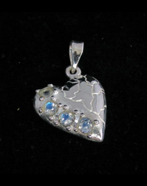 Sterling silver Heart shaped Pendant with 4 little Sparkling Blue Fire Moonstone Gemstones