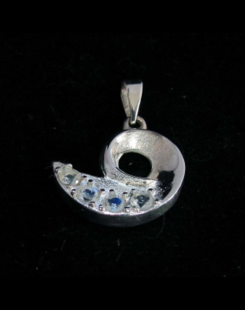 Beautiful Sterling silver Pendant with 4 small Sparkling Blue Fire Moonstone Gemstones