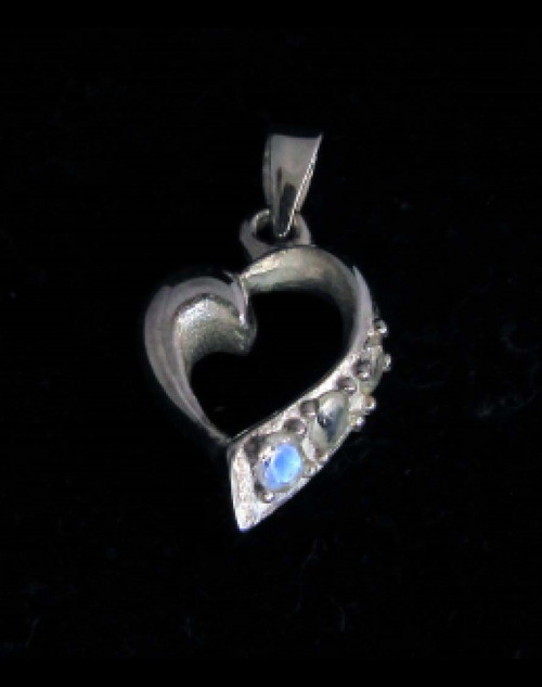 Beautiful Sterling silver Heart shaped Pendant with 3 small Blue Fire Moonstone Gemstones